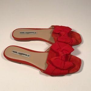 """Karl Lagerfeld """"Rosie"""" Bow Slides Women 8.5 M"""
